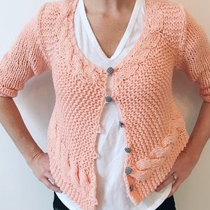 Free People Button Down Cardigan Cropped Open Knit